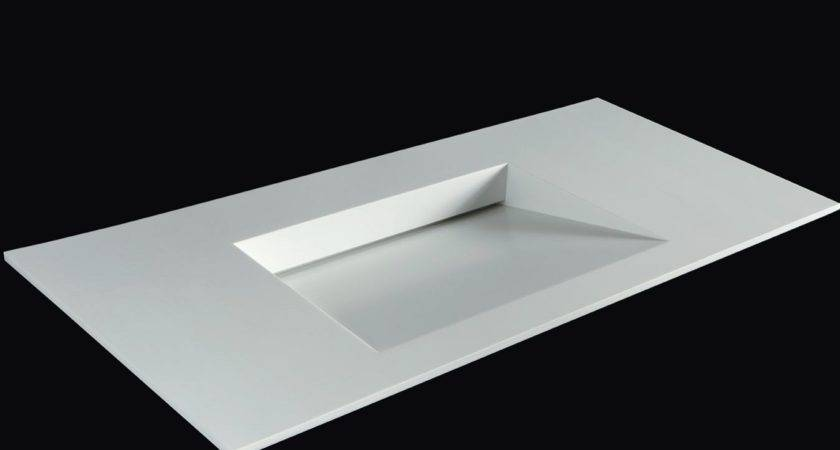 Rectangular Corian Washbasin Integrated Countertop