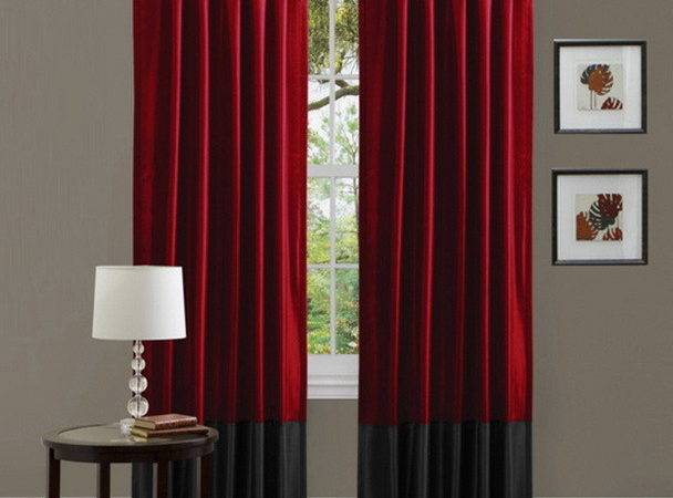 Red Black Combination Living Room Curtain Floor Length