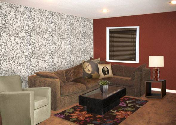 Red Brown Living Eating Room Long