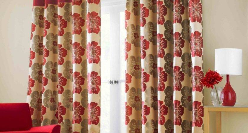 Red Brown Living Room Curtains Modern House