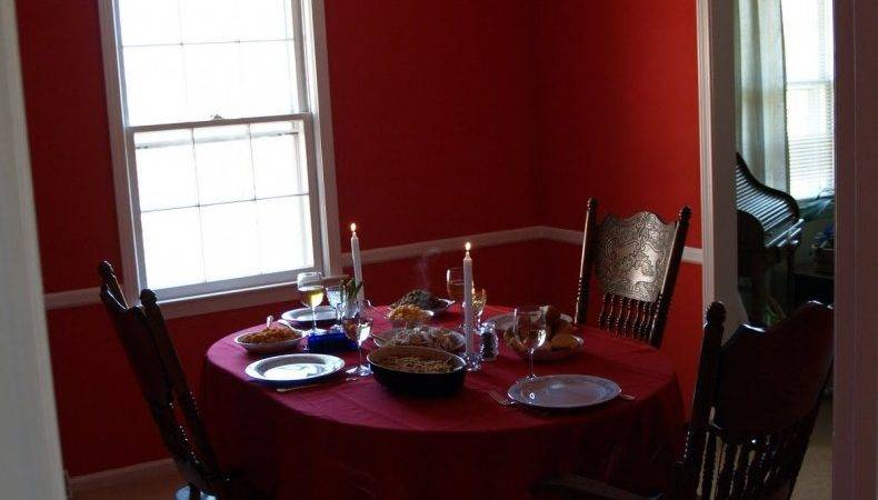 Red Color Wall Dining Room Design Decosee