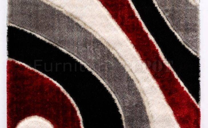 Red Contemporary Area Rugs Square Comfortable Black White