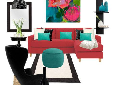 Red Couch Black White Turquoise Decor Polyvore