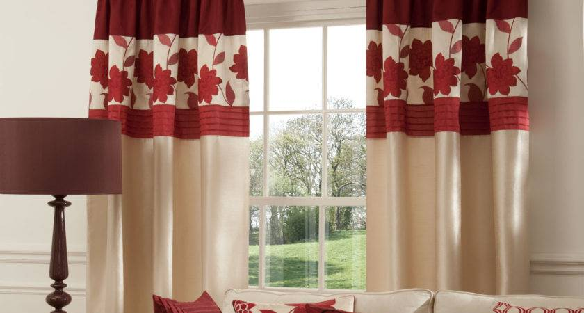 Red Cream Curtains Living Room Nakicphotography