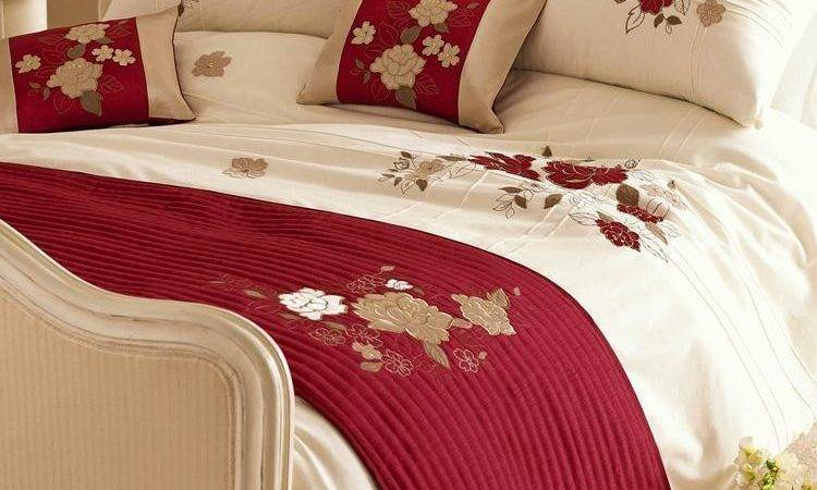 Red Cream Gold Tami Embroidered Duvet Cover Bedding
