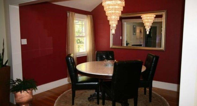 Red Dining Rooms Wall Gold Ceiling Room