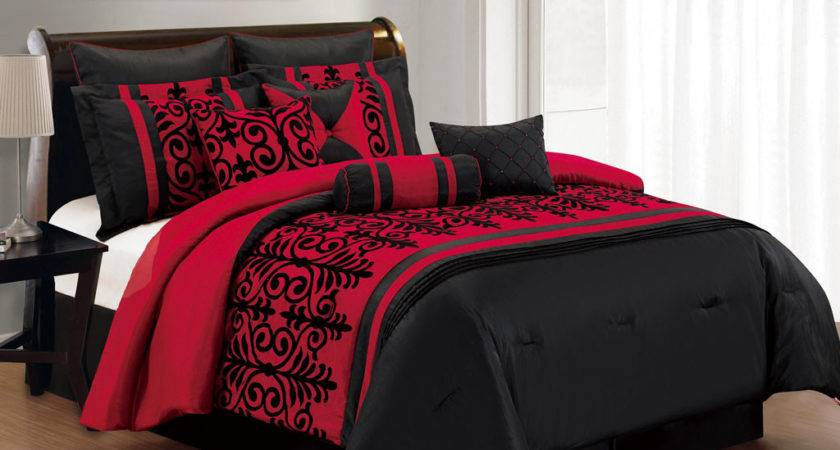 Red Gray Comforter Sets Contemporary Bedroom