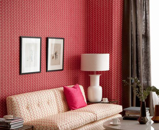 Red Patterned Living Room Ideal Home