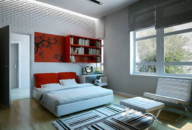 Red White Bedroom Dream Home Interiors Open Design