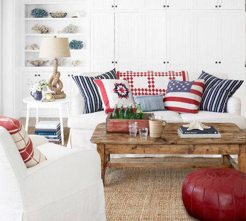 Red White Blue Pillows Living Room Decorating Idea