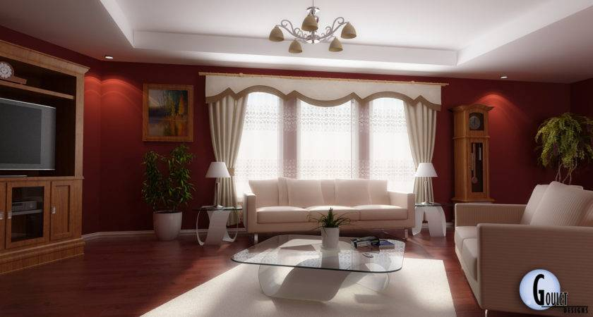 Red White Living Room Interior Design Decobizz