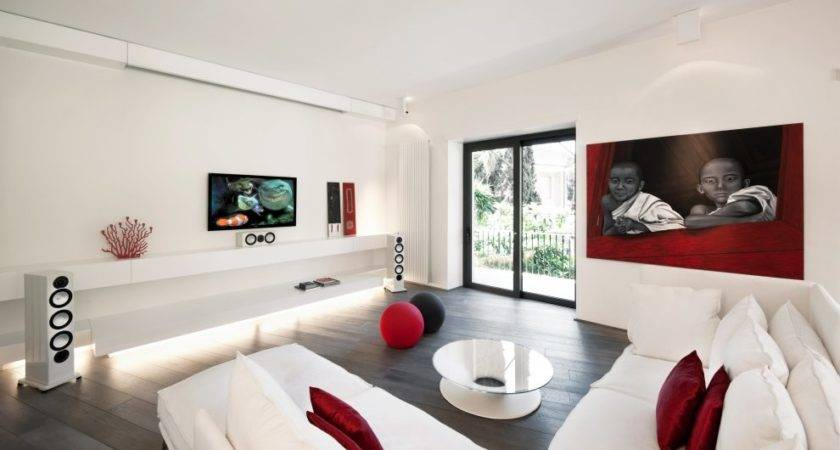 Red White Modern Minimalist Living Room Interior Design