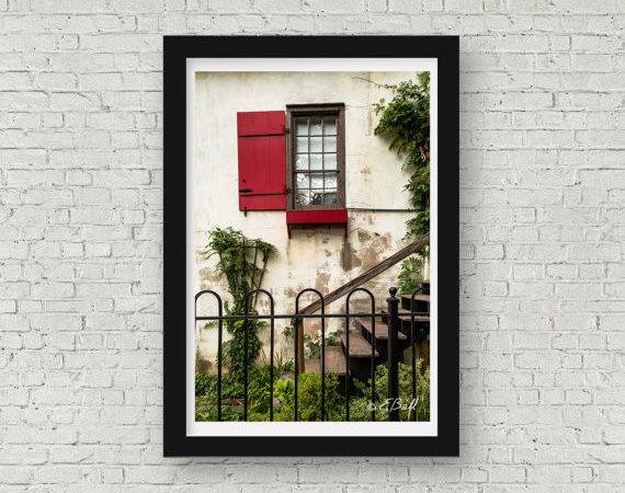 Red Window Shutter Print Art Wall Decor