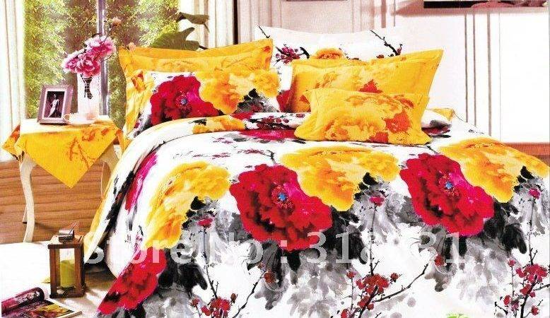 Red Yellow Comforter Sets Light Country Cotton Floral