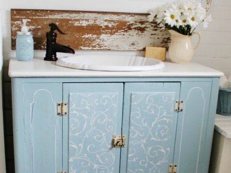 Repurposed Cabinet Bathroom Vanity Via Knickoftime