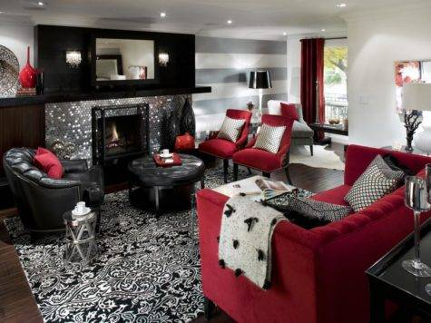 Retro Red Black White Room Hgtv