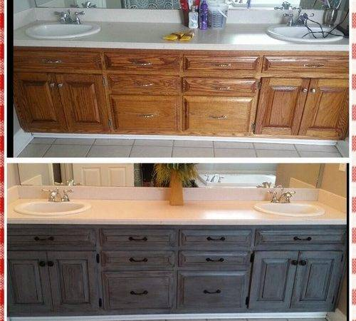 Revamped Ugly Bathroom Cabinets