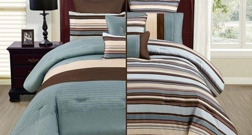Reversible Blue Teal Beige Brown Luxury Stripe Piece