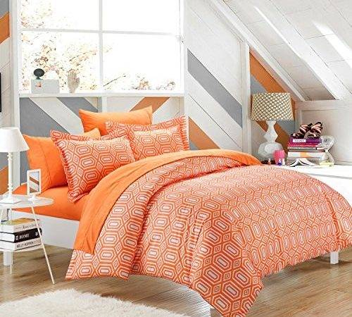 Rise Shine Orange White Comforter Bedding Sets