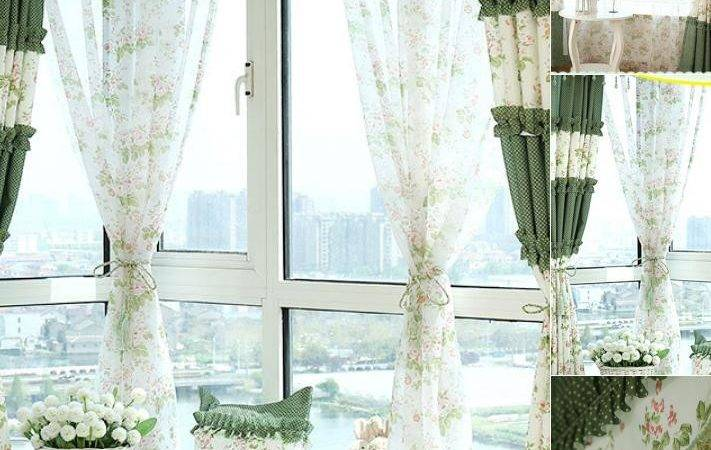 Romantic Green Floral Shabby Chic Curtains
