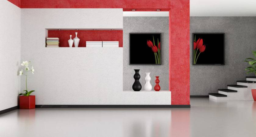 Room Interior Design White Mixed Red Painted Wall