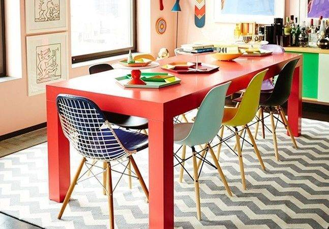 Round Colorful Dining Room Table Ideas Contemporary