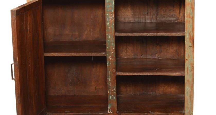 Rounded Corners Rustic Reclaimed Wood Display Shelf Cabinet
