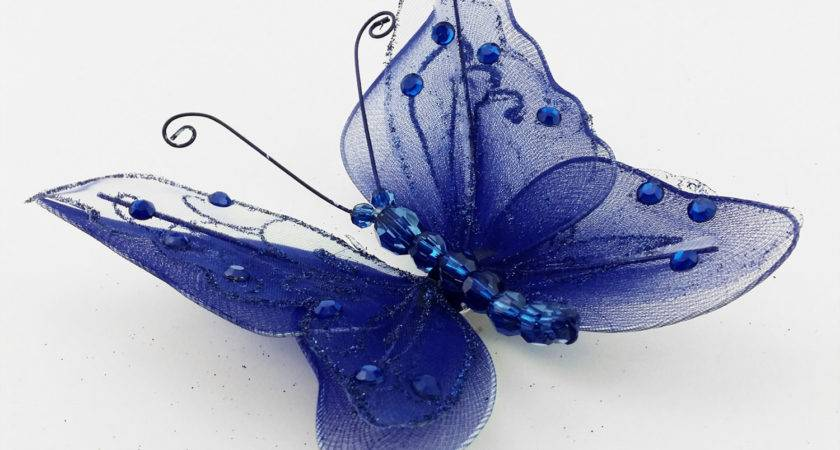 Royal Blue Sapphire Sheer Nylon Crystal Wire Butterfly