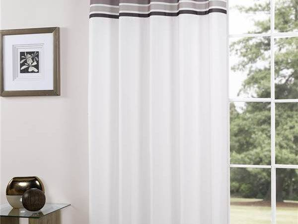 Royale Striped Eyelet Unlined Voile Curtain Panel