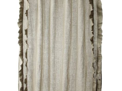 Ruffled Natural Cotton Linen Shower Curtain Contemporary