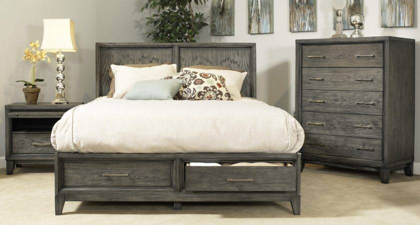 Rustic Grey Wooden Bed Headboard Storage Drawers