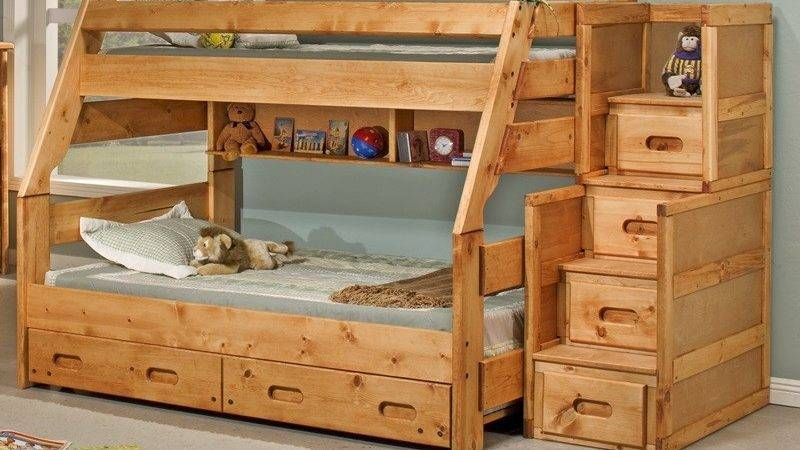 Rustic Style Solid Pine Bunk Bed Stairway Chest