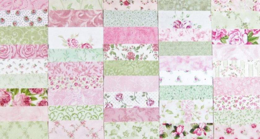 Sale Shabby Cottage Chic Pink Green Fabric