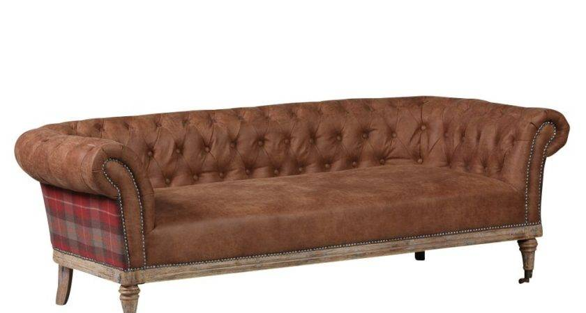 Scotsman Buttoned Brown Leather Red Tartan Sofa