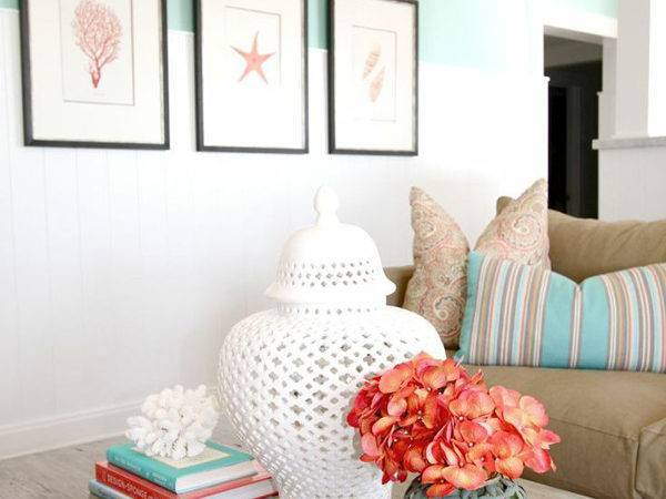 Sea Coral Living Room Decor