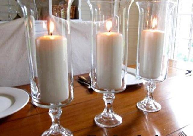 Set Clear Glass Wedding Centerpieces Table