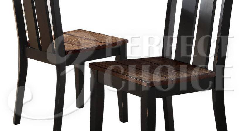 Set Dining Side Chairs Rustic Distressed Wood Seating