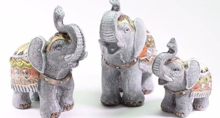 Set Feng Shui Gray Elephants Trunk Statue Lucky