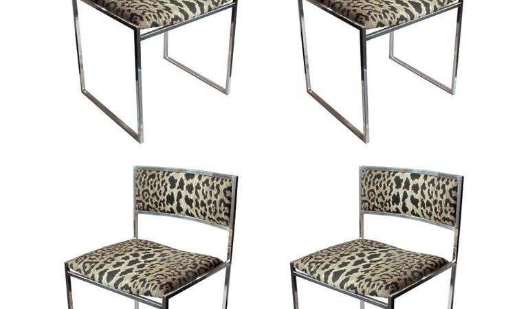 Set Four Chrome Frame Dining Chairs Leopard