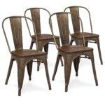 Set Industrial Distressed Metal Dining Chairs Wood