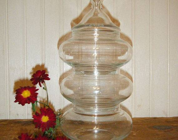 Set Stackable Clear Glass Apothecary Jars