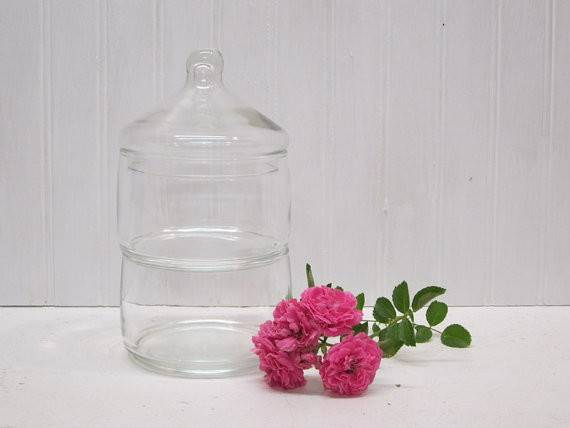 Set Stackable Clear Glass Round Apothecary Jars