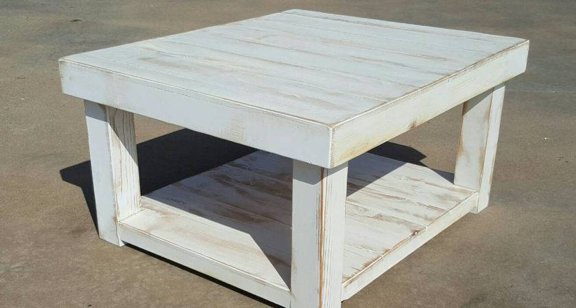 Shabby Chic Farmhouse Coffee Table White Distressed