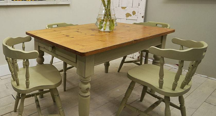 Shabby Chic Farmhouse Dining Table Captains Chairs