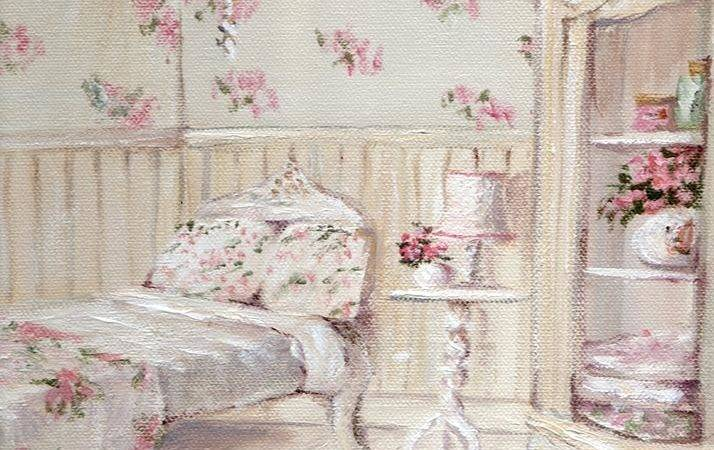 Shabby Chic Floral Guest Room Painting