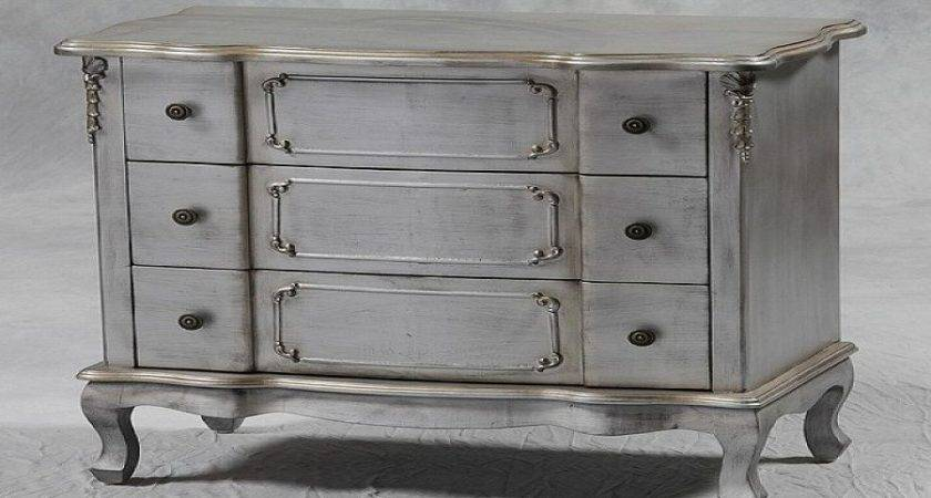 Shabby Chic Silver Leaf Drawer Chest Furniture