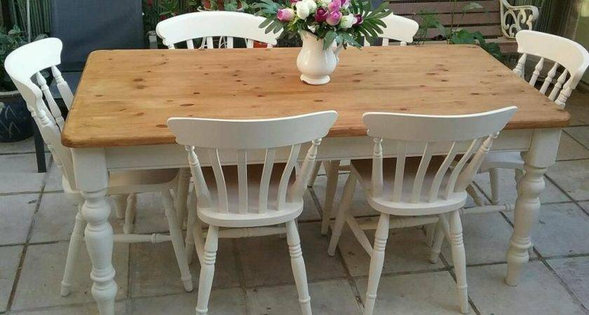 Shabby Chic Solid Pine Farmhouse Table Beech