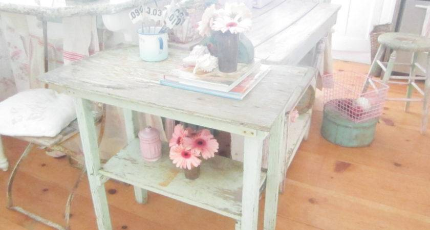 Shabby Chic Table Original Aqua Farmhouse Coffee