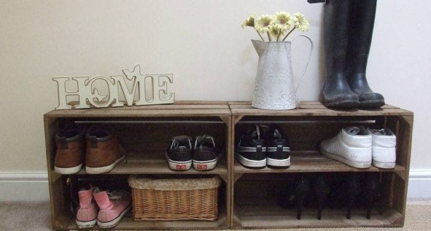 Shabby Chic Wooden Shoe Rack Rustic Vintage