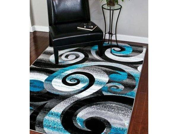 Shop Persian Rugs Modern Trendz Abstract Turquoise Grey